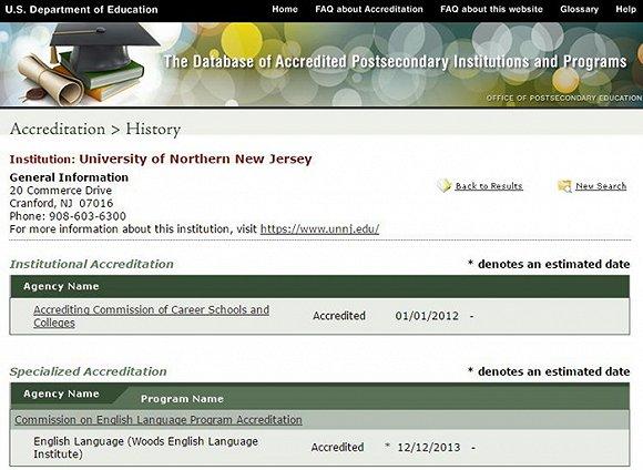 """在美国教育部官网上,都能查询到""""北新泽西大学""""的信息"""