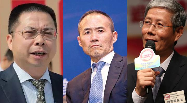 从左至右依次为宝能系老板姚振华、万科董事长王石、华润董事长傅育宁