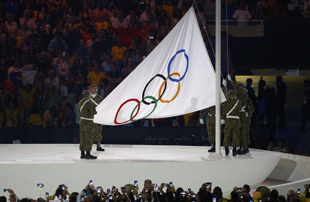 2016里约奥运会开幕式,奥运会旗升旗仪式举行。cfp供图