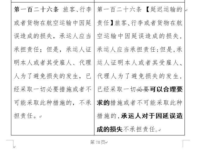 """截图来自中华人民共和国民用航空法(修订征求意见稿),很多人认为把""""必要""""改为""""可以合理要求的""""有损消费者利益"""