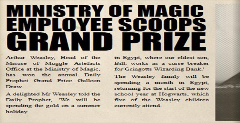 1993年的夏天,亚瑟・韦斯莱赢得了加隆奖,奖金一共是七百加隆。