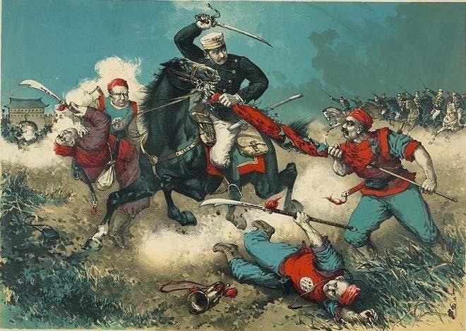 日军版画:骑兵与清兵、拳民战斗