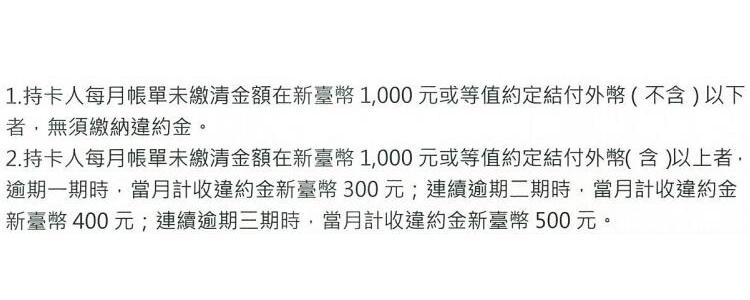 台湾一家银行的信用卡收费项目说明里对违约金的描述