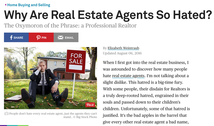 "theblance.com上的一篇文章""Why Are Real Estate Agents So Hated?""(为什么房产中介这么令人讨厌?)"