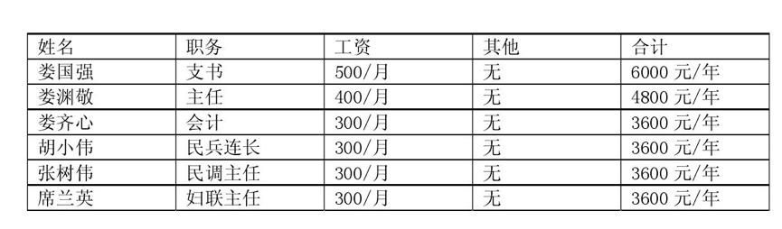 开封市通许县西朱庄村村干部工资收入和年终报酬