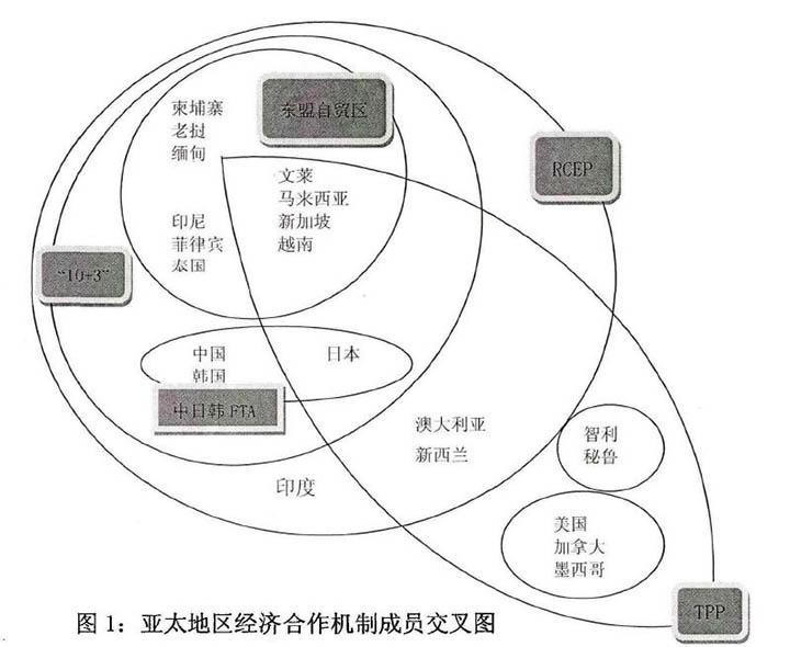 可以看到RCEP和TPP成员国有交叉 图片来源:论文《亚太地区经济合作机制研究: 基于RCEP和TPP的对比分析》