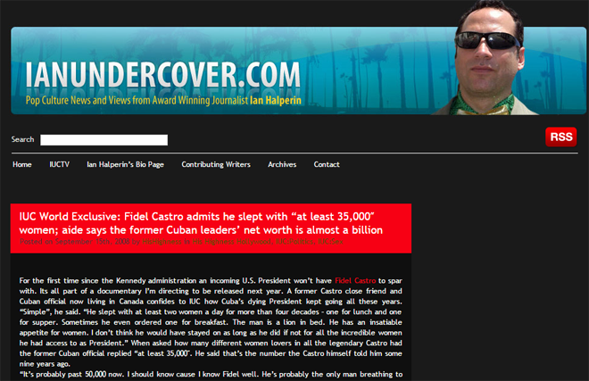 Ian Halperin个人网站截图
