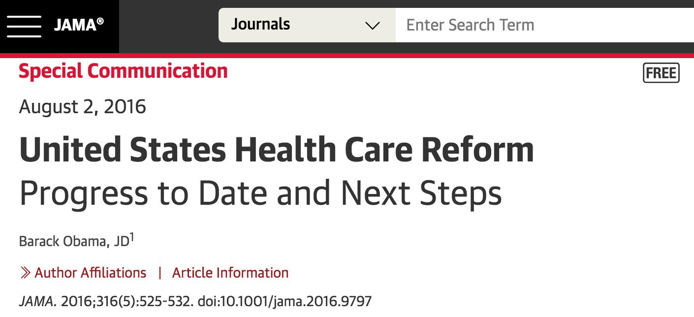 奥巴马关于医疗保险的这篇论文是2016年美国被讨论得最多的学术论文