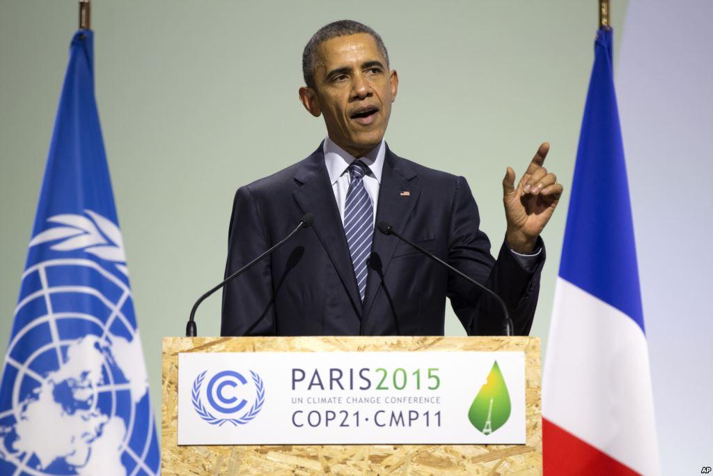 奥巴马极力维护美国参与国际秩序,图为巴黎气候大会上奥巴马发表演讲,很难想象特朗普也会这么做