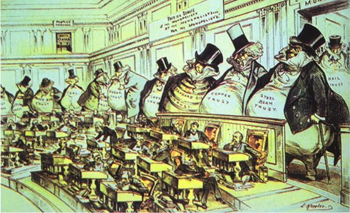 """这张描述美国资本家的漫画,与马克思的两段话一样,也让人们对""""资本有罪""""构成了刻板印象"""
