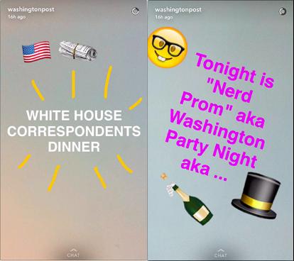 华盛顿邮报利用Snapchat报道白宫记者晚宴