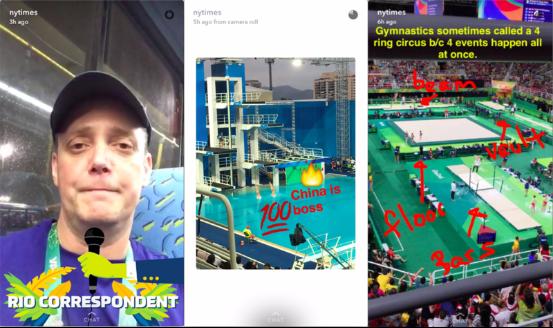 纽约时报利用Snapchat报道里约奥运