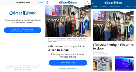 芝加哥论坛报上Apple News频道的付费内容