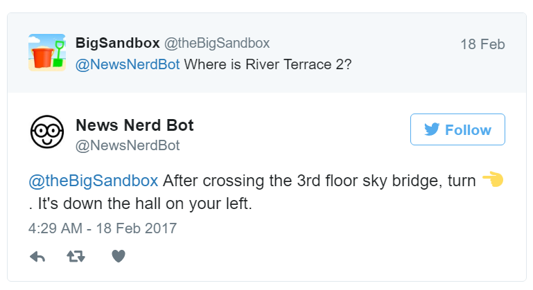 Quartz的两大大会服务机器人的Twitter互动