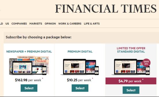 《金融时报》的订阅费用