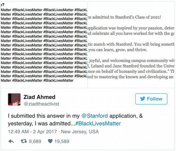 齐亚德在推特上晒出了他的申请书和录取通知书