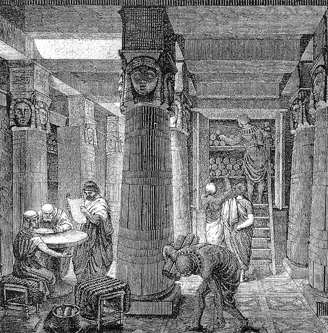 亚历山大图书馆内部想像图