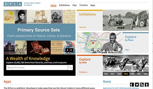 美国公共数字图书馆DPLA网站首页