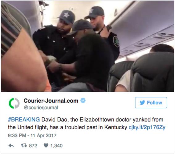 #突发新闻# 伊丽莎白镇的医生David Dao,这位被拽下飞机的乘客,竟在肯塔基有过犯罪黑历史