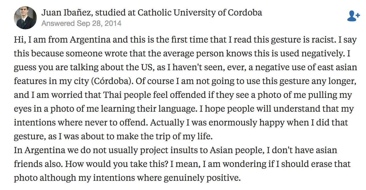 有阿根廷人在Quora上解释这个动作在阿根廷并没有恶意,与美国并不一样