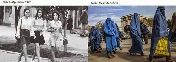 1972年和2013年,阿富汗首都喀布尔街头的女性