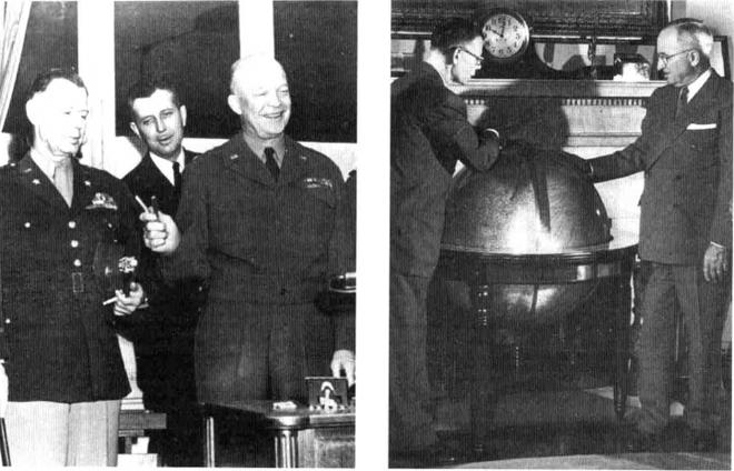 图:左,中情局局长史密斯(1950-1953,左)与艾森豪威尔(右)合影;右,史密斯与杜鲁门总统在白宫合影。