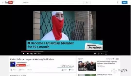 在YouTube极端视频旁出现的《卫报》广告
