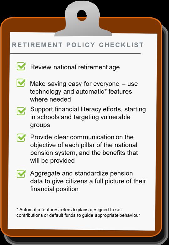 为解决问题,世界经济论坛报告给了些初步的建议,比如检讨退休年龄、给人们增加理财技能培训、增加社保计划透明度等等
