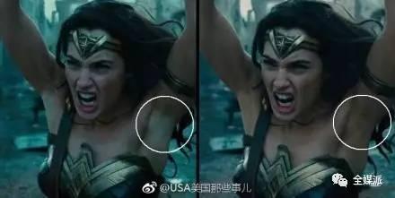 左图为第一版预告中,神奇女侠腋窝太白被喷;右图为新版预告,华纳利用数码技术将腋毛修复。