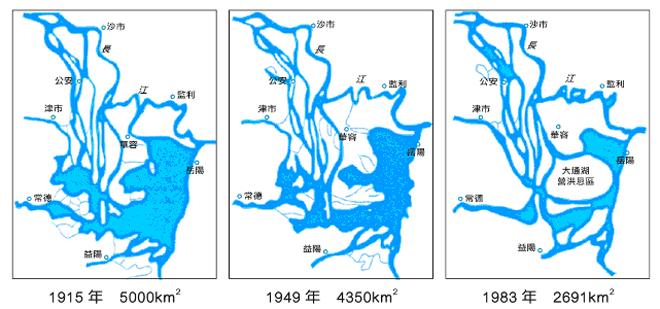 图:洞庭湖百年萎缩示意图