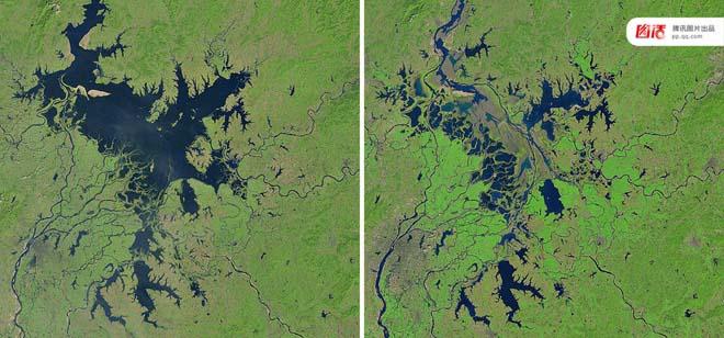 左图:2000年10月9日,NASA拍摄的鄱阳湖卫星图;右图:2016年9月27日,NASA拍摄的鄱阳湖卫星图。