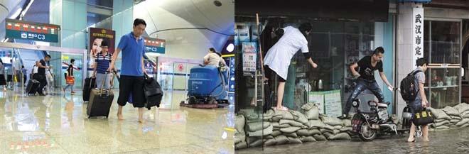 图:左图:2016年7月,武汉火车站内积水;右图:2016年7月,武汉张之洞路段内涝。