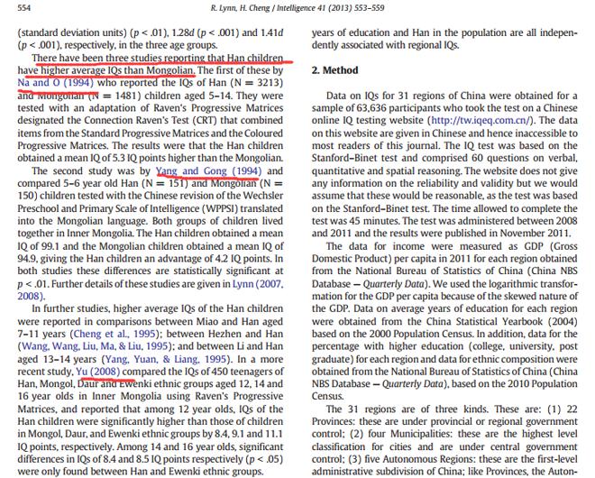 图:林恩的论文中关于汉族与蒙古族智商测试的中文学术成果的引用