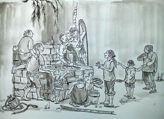图为大家齐心协力打捞掉进井里的咸菜.林宝生绘图片