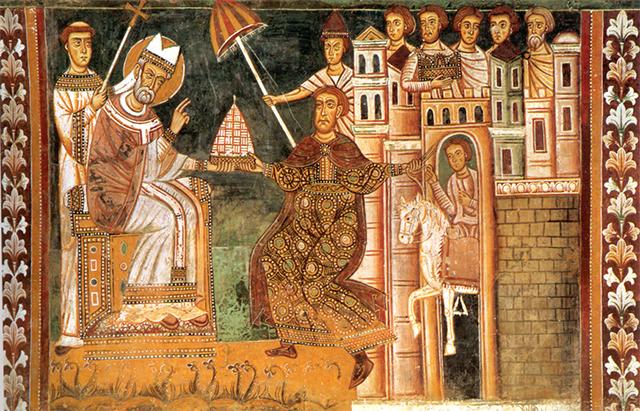 13世纪描绘君士坦丁赠礼的壁画,左为教皇,右为君士坦丁