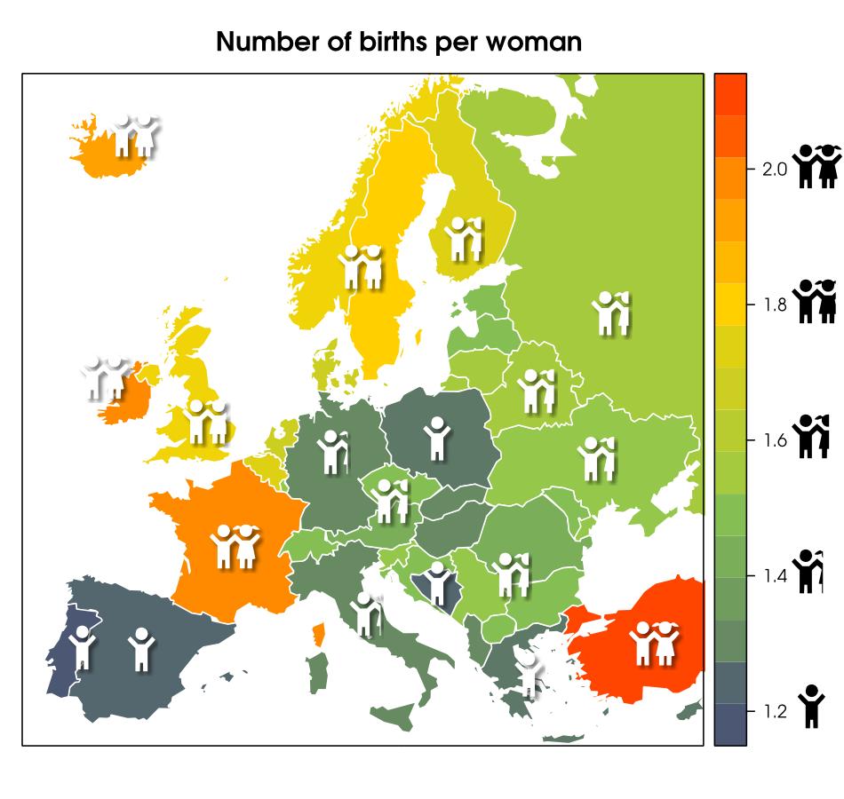 欧洲生育率地图,相对保守的东南欧生育率较北欧国家明显更低