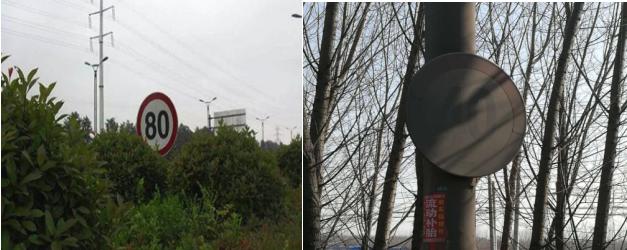 很多地方的限速牌,会被植物、广告牌、泥土等遮挡住