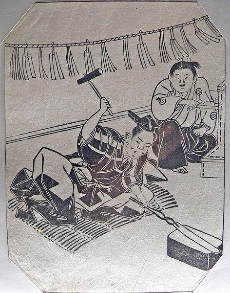 一幅描繪江戶時代制刀情景的版畫