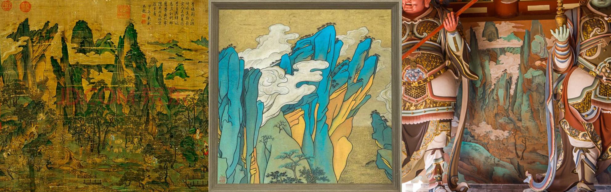 原画¡¢某画家个展作品与龙泉山寺壁画¡£这位老?#31181;?#25130;取了左上角的山头