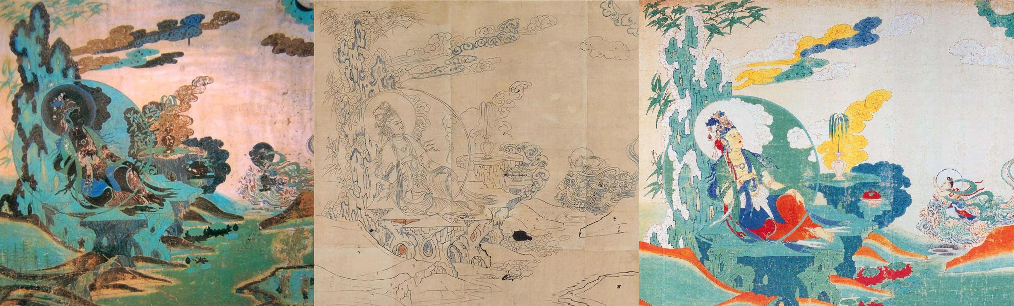 榆林窟水月观音原画¡¢张大千粉本和最终成品对比