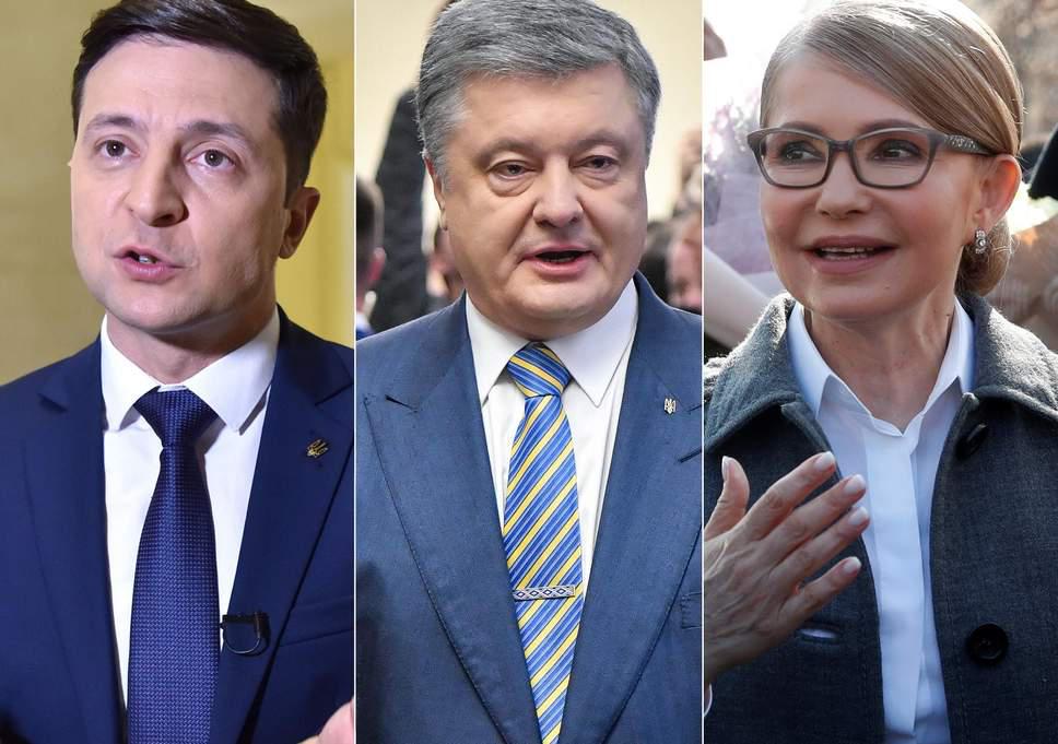 圖說:政壇老將,現任總統波羅申科(中)和前任美女總理季莫申科(右),可能都沒想到自己能在第一輪投票中慘敗於澤連斯基