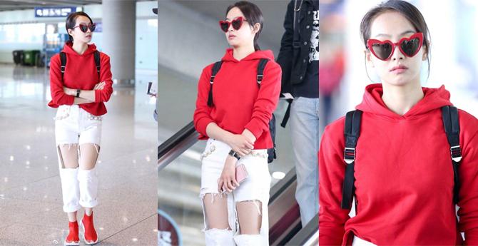 宋茜破洞裤搭配心形墨镜,到底是酷还是萌?