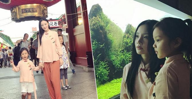 李小璐带甜馨游日本 两人穿亲子装汉服