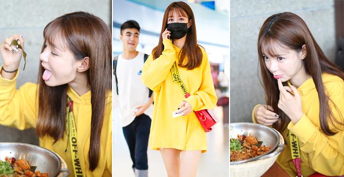 沈梦辰机场不仅要秀美腿 还要吃麻辣香锅