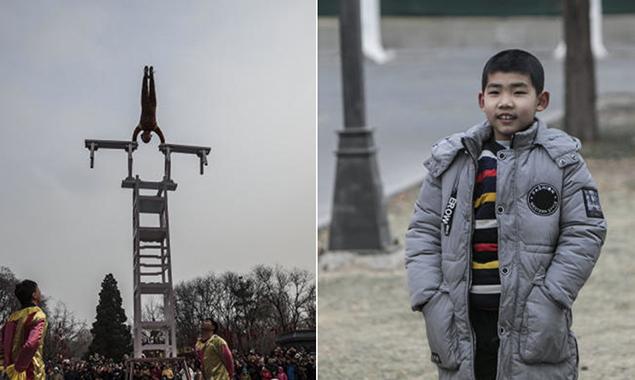 胆战心惊!北京春节庙会8岁儿童表演高空倒立