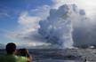 夏威夷火山岩浆涌流入海:水火激荡 惊呆摄影师