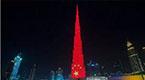 中东夜空被五星红旗点亮