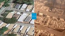 加州大火航拍画面前后对比