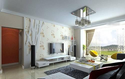 客厅电视背景墙装修效果图 100款现代简约小户图片