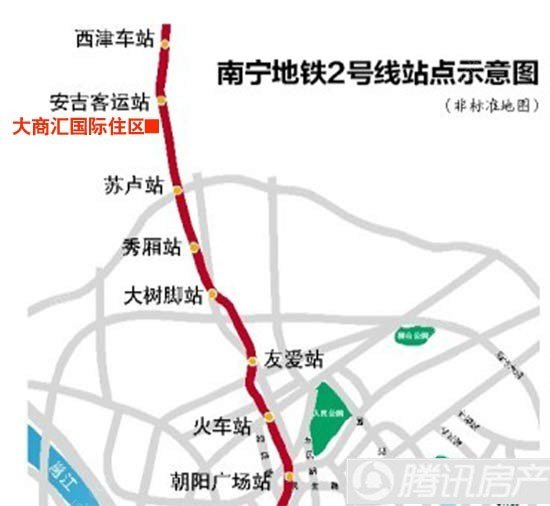 南宁地铁2号线部分站点示意图